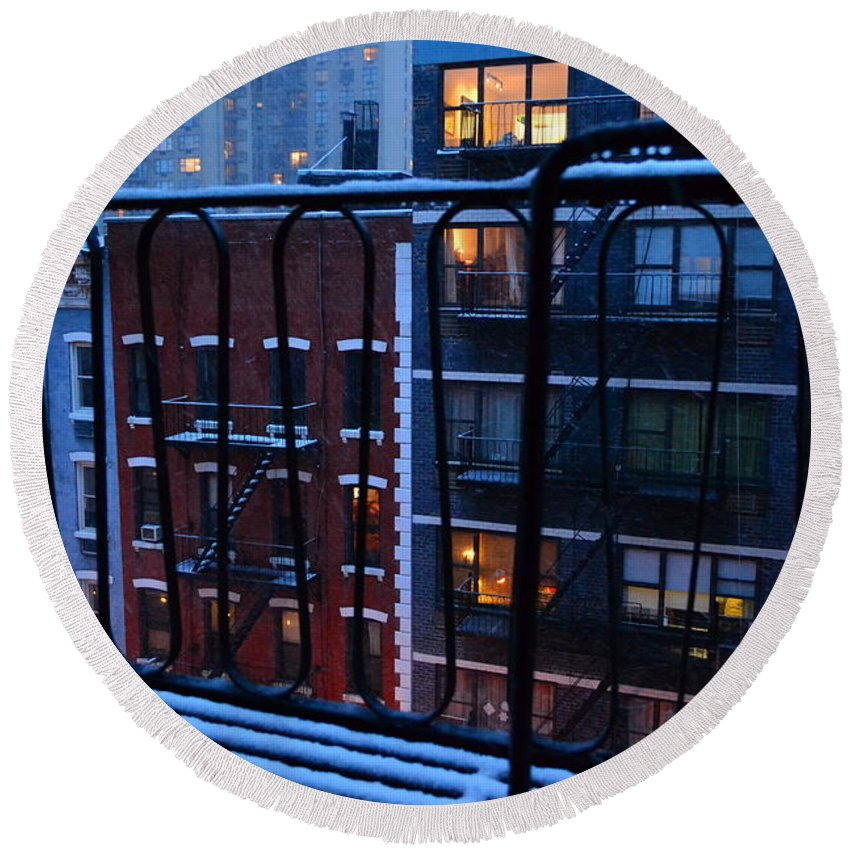 New York Round Beach Towel featuring the photograph New York Window - Fire Escape In Winter by Miriam Danar
