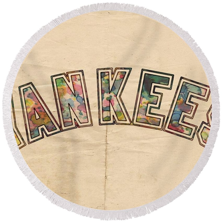 New York Yankees Round Beach Towel featuring the painting New York Yankees Poster Art by Florian Rodarte