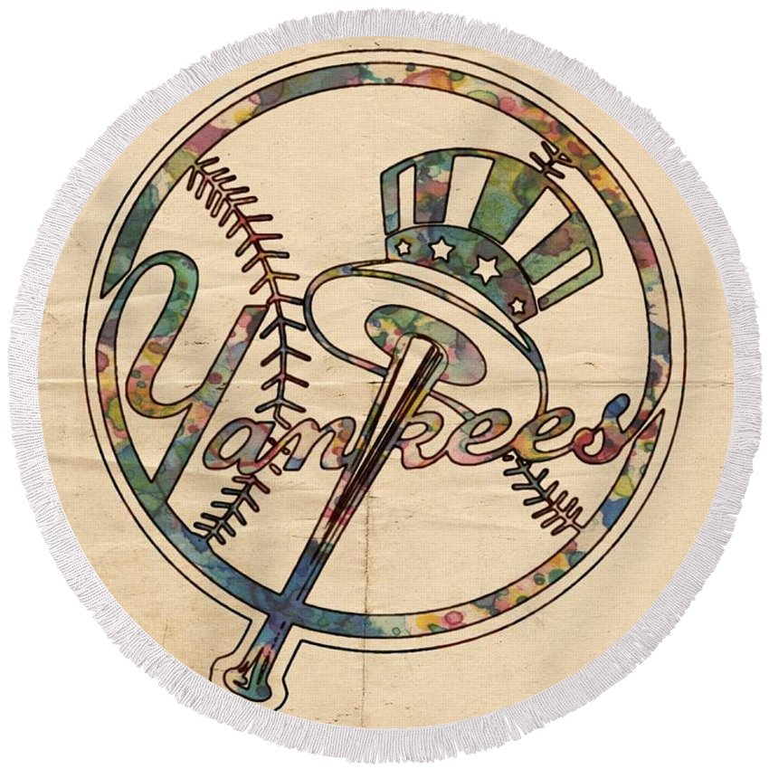 New York Yankees Round Beach Towel featuring the painting New York Yankees Poster Vintage by Florian Rodarte