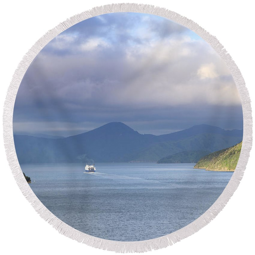 Ferry Round Beach Towel featuring the photograph New Zealand Ferry by Alexey Stiop