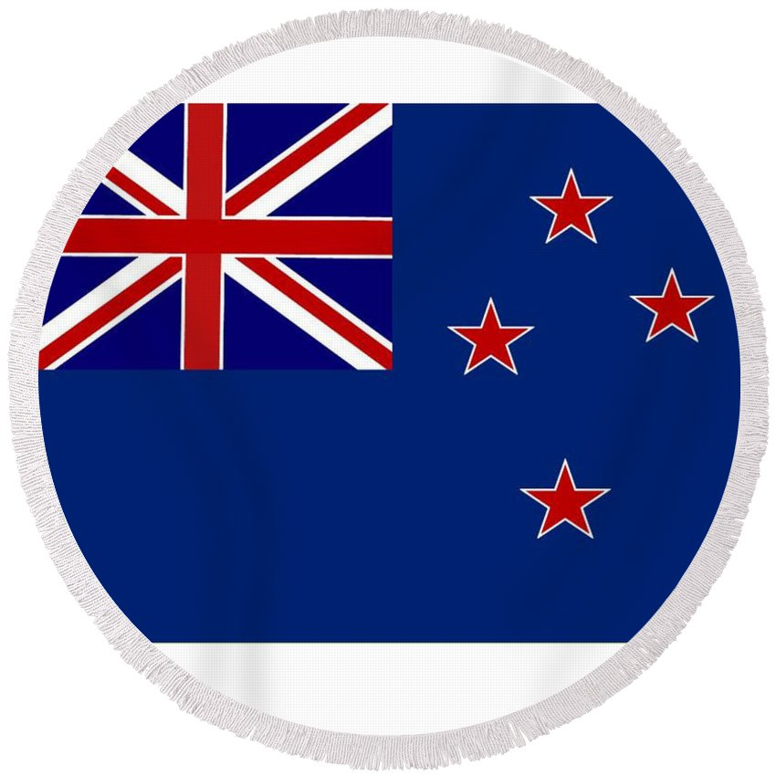 New Zealand Round Beach Towel featuring the digital art New Zealand Flag by Frederick Holiday