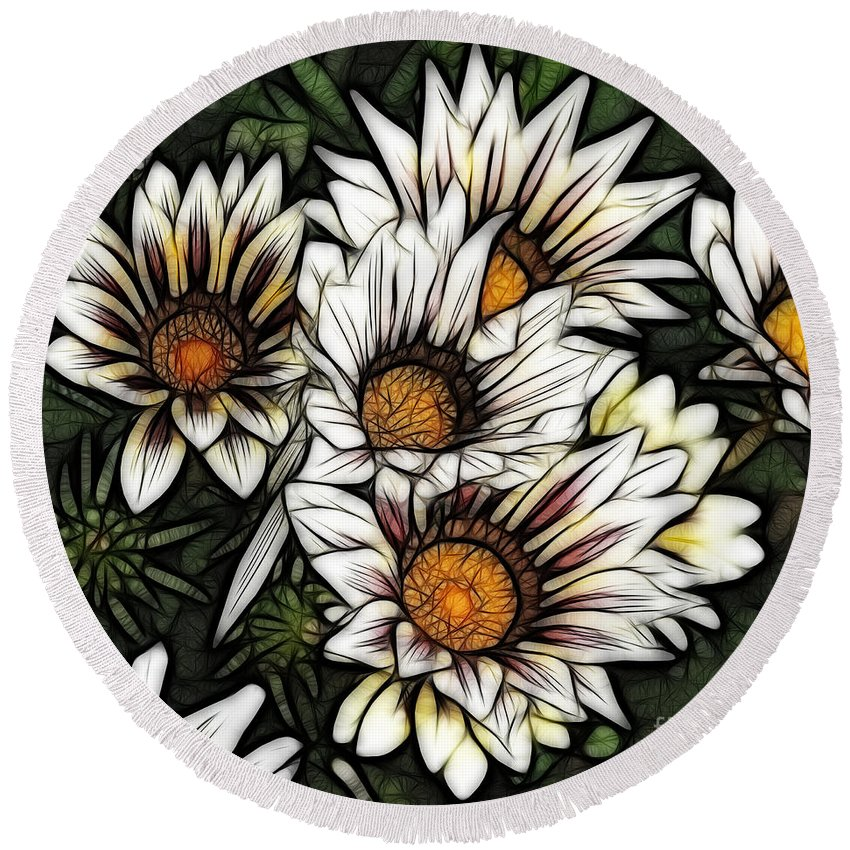 Colorful Round Beach Towel featuring the photograph New Zealand Flowering Beauties by Bob Christopher