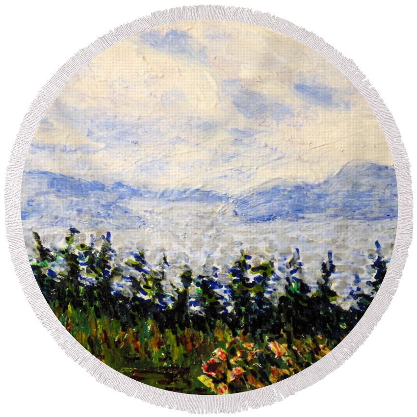 Newfoundland Round Beach Towel featuring the painting Newfoundland Up The West Coast by Ian MacDonald