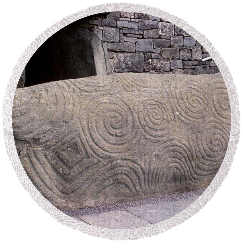 Irish Spiral Stone Round Beach Towel featuring the photograph Newgrange Entrance Kerb by Cynthia Wallentine