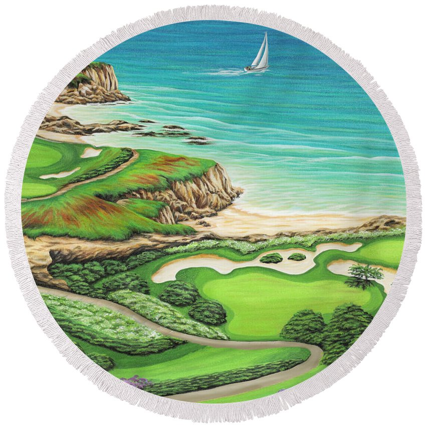 Ocean Round Beach Towel featuring the painting Newport Coast by Jane Girardot