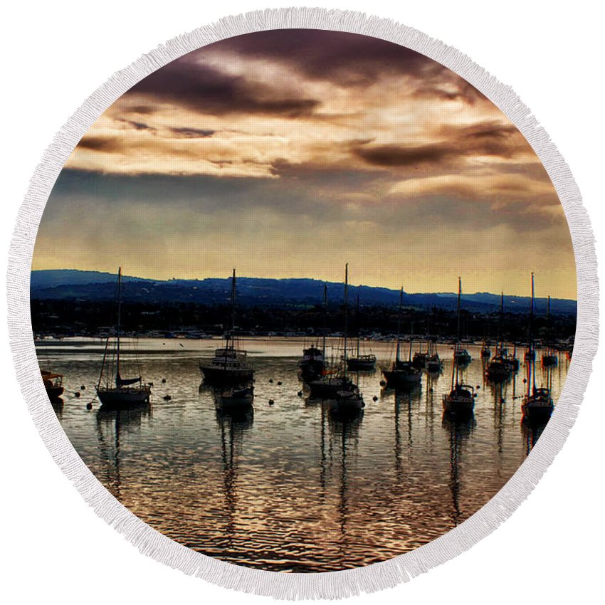 Newport Round Beach Towel featuring the photograph Newport Harbor At Dusk by Stefan H Unger