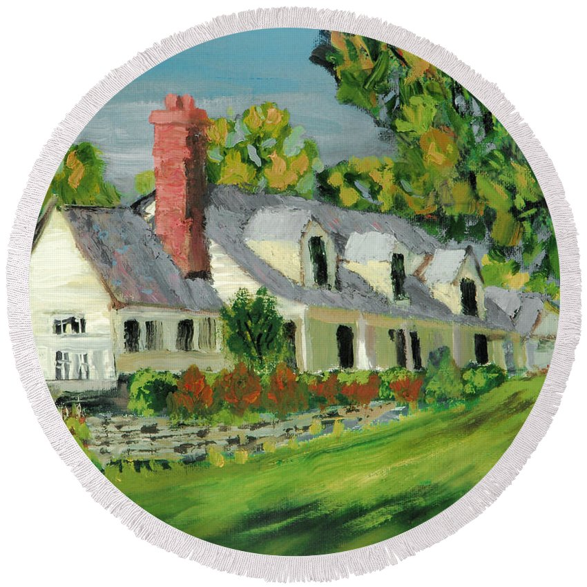 Wooden Duck Inn Cape Cod House Gable Tree Kittatinny Valley State Park Scenic Round Beach Towel featuring the painting Next To The Wooden Duck Inn by Michael Daniels