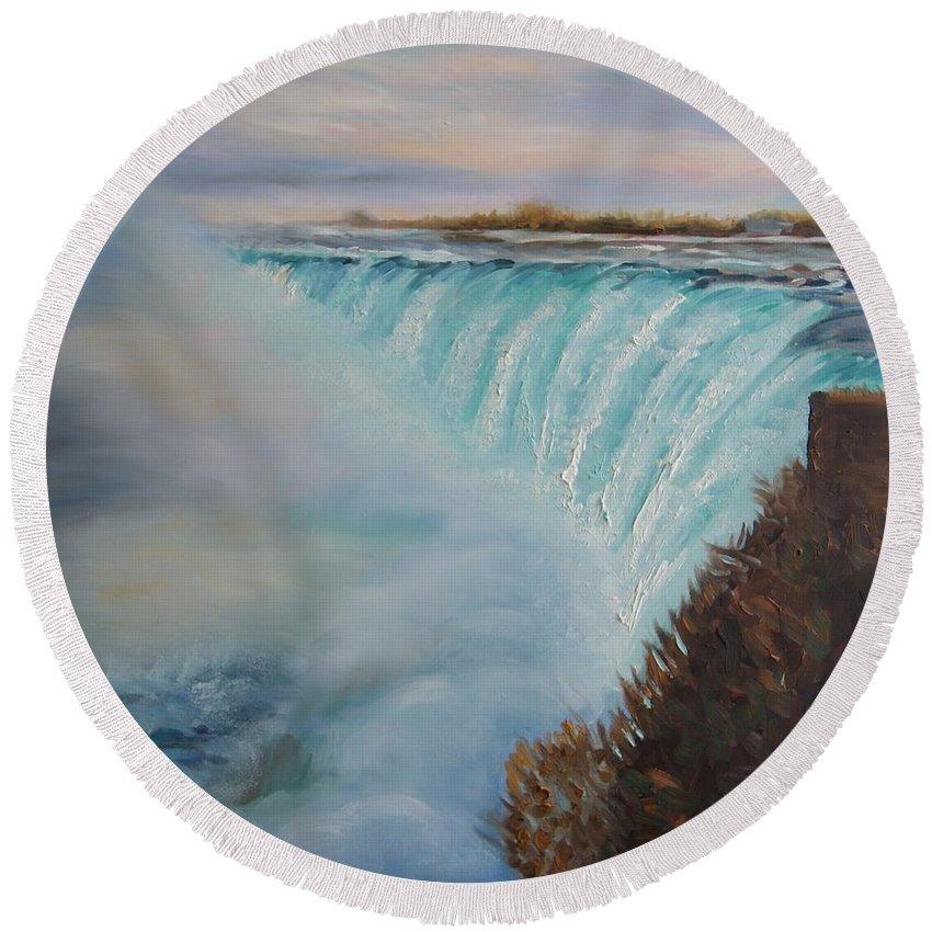 Landscape Round Beach Towel featuring the painting Niagara Falls by Efim Melnik