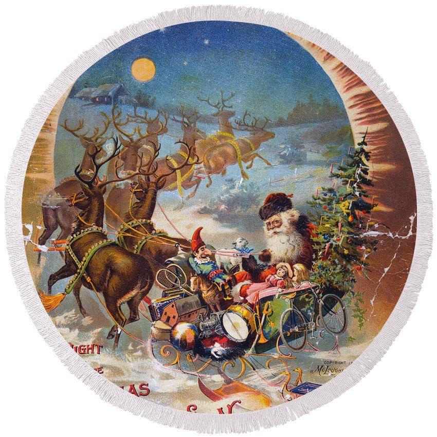 1896 Round Beach Towel featuring the photograph Night Before Christmas by Granger