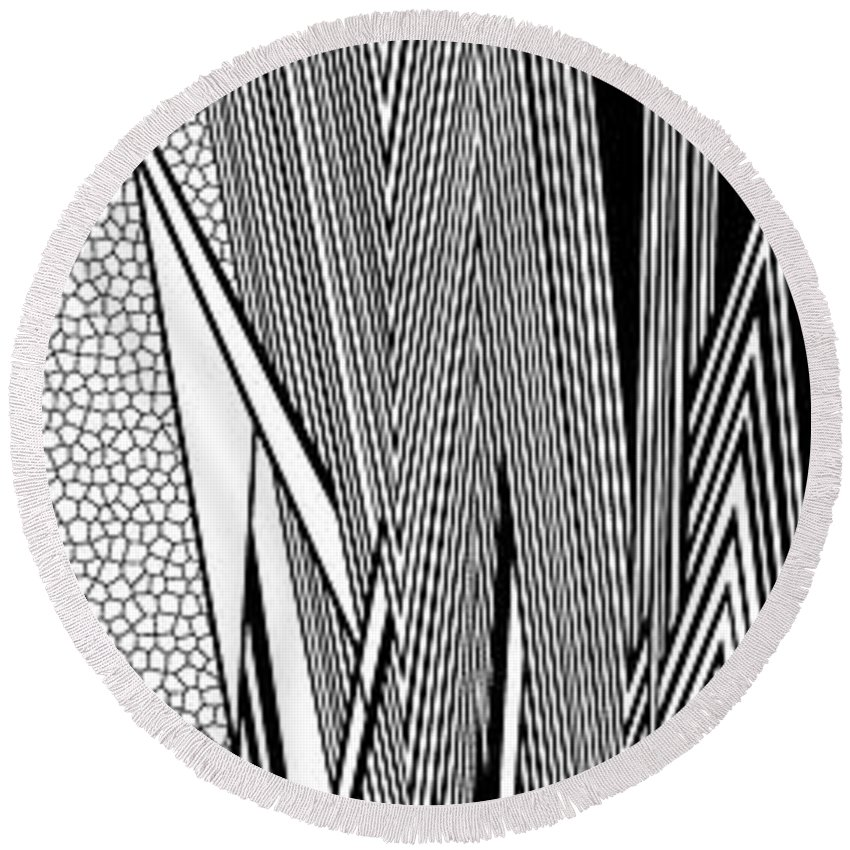 Dynamic Black And White Round Beach Towel featuring the painting Night Circus by Douglas Christian Larsen