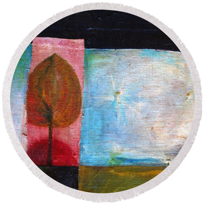 Colour Round Beach Towel featuring the painting Night Comes by Wojtek Kowalski