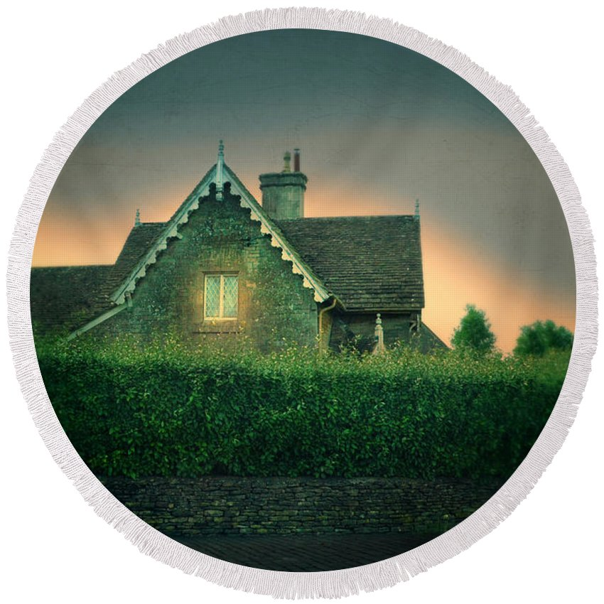 Wall Round Beach Towel featuring the photograph Night Cottage by Jill Battaglia