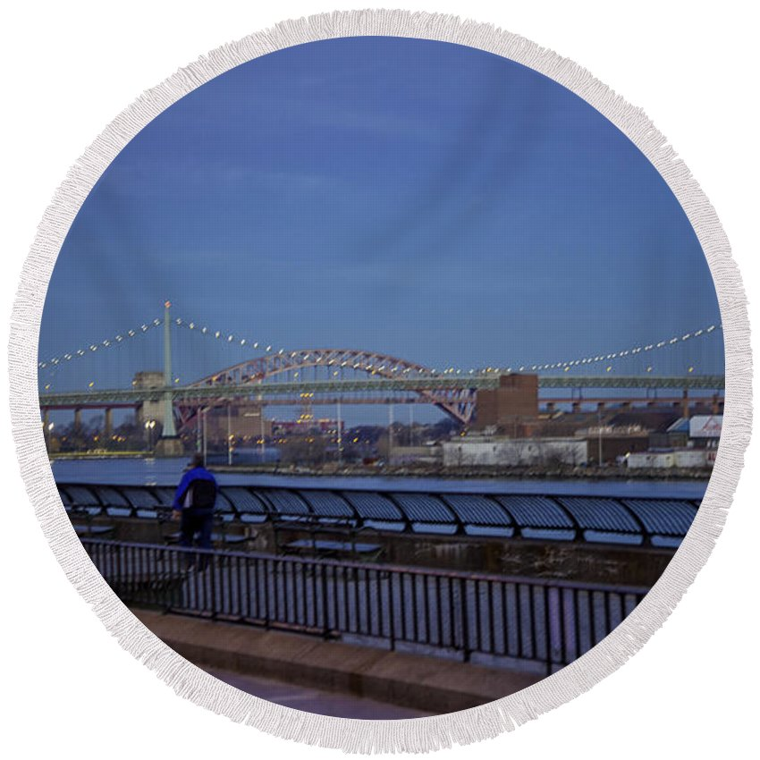East River Round Beach Towel featuring the photograph Night Falling Over The East River - Manhattan by Madeline Ellis