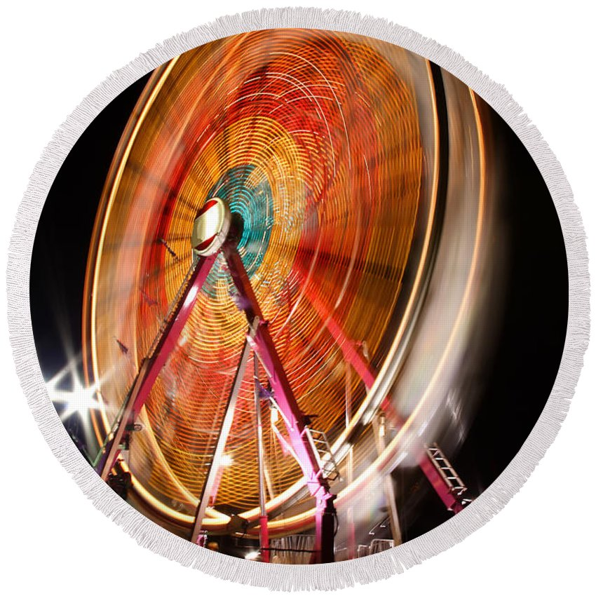 Olmsted Round Beach Towel featuring the photograph Night Ferris Wheel 3 by John Brueske