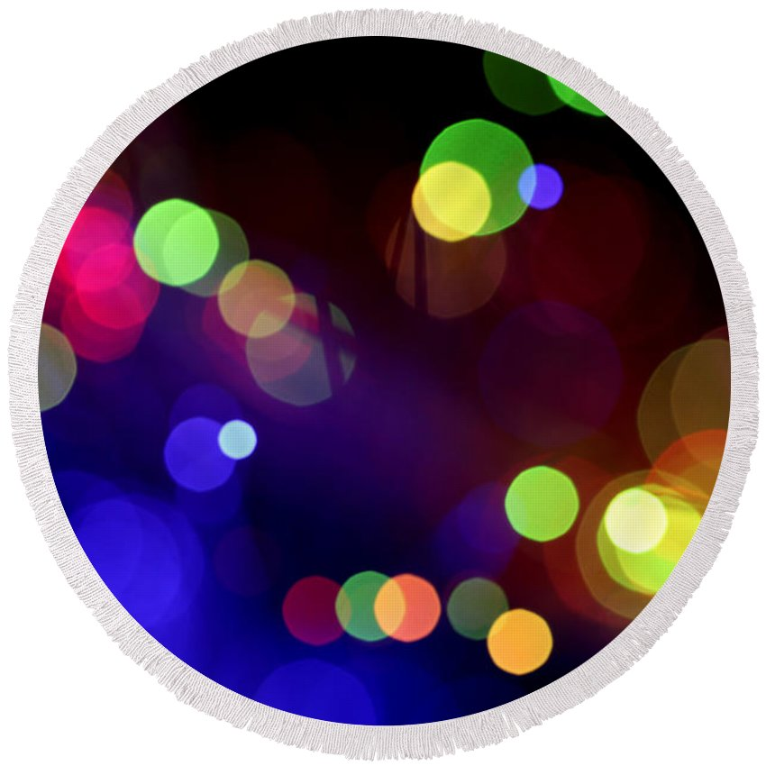 Abstract Round Beach Towel featuring the photograph Night Fever by Dazzle Zazz