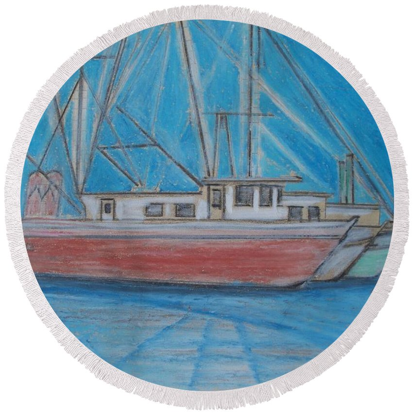 Night Round Beach Towel featuring the painting Night Fishing by Eric Schiabor