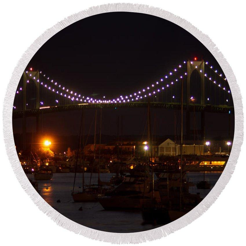 Bridge Round Beach Towel featuring the photograph Night Lights by Ray Konopaske