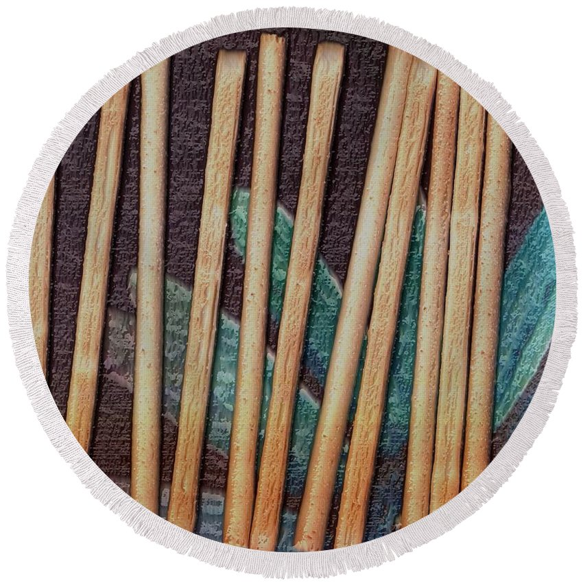 Bread-stick Round Beach Towel featuring the mixed media Night On The Bread Stick Planet by Pepita Selles