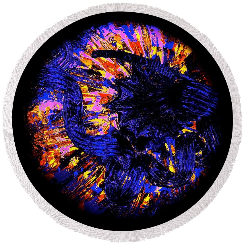 Dragons Round Beach Towel featuring the photograph Night Pumpkin Iridescence by Tim G Ross