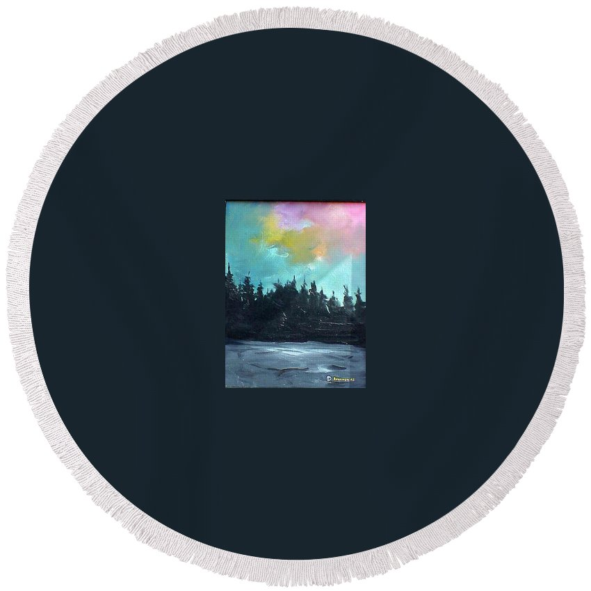 Landscape Round Beach Towel featuring the painting Night River by Sergey Bezhinets