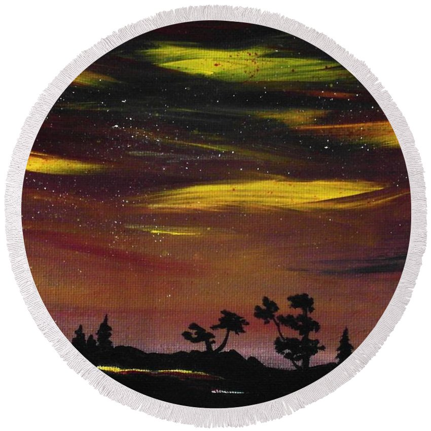 Calm Round Beach Towel featuring the painting Night Scene by Anastasiya Malakhova