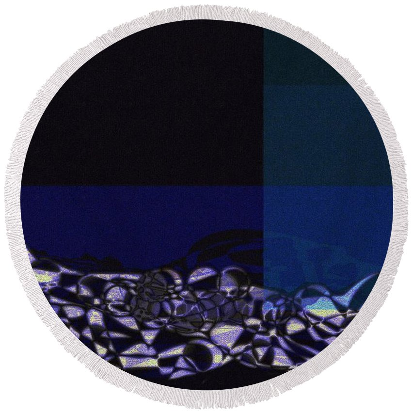 Abstract Landscape Round Beach Towel featuring the painting Night Shadows by Wolfgang Schweizer