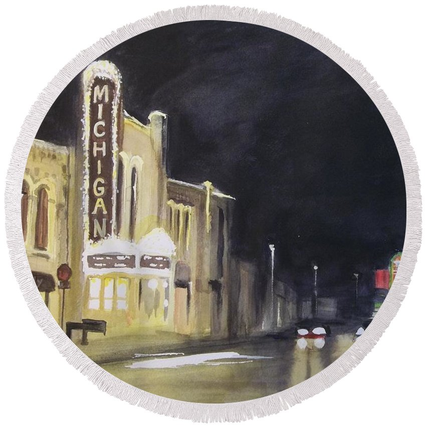 Town Round Beach Towel featuring the painting Night Time At Michigan Theater - Ann Arbor Mi by Yoshiko Mishina