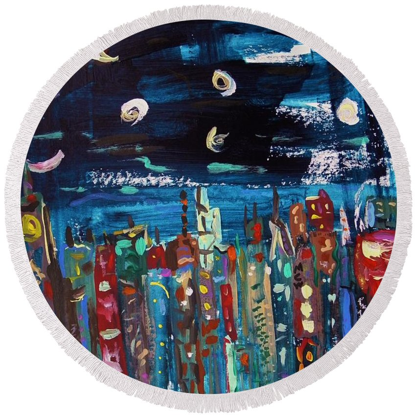 Moon Round Beach Towel featuring the painting Night Vision by Mary Carol Williams