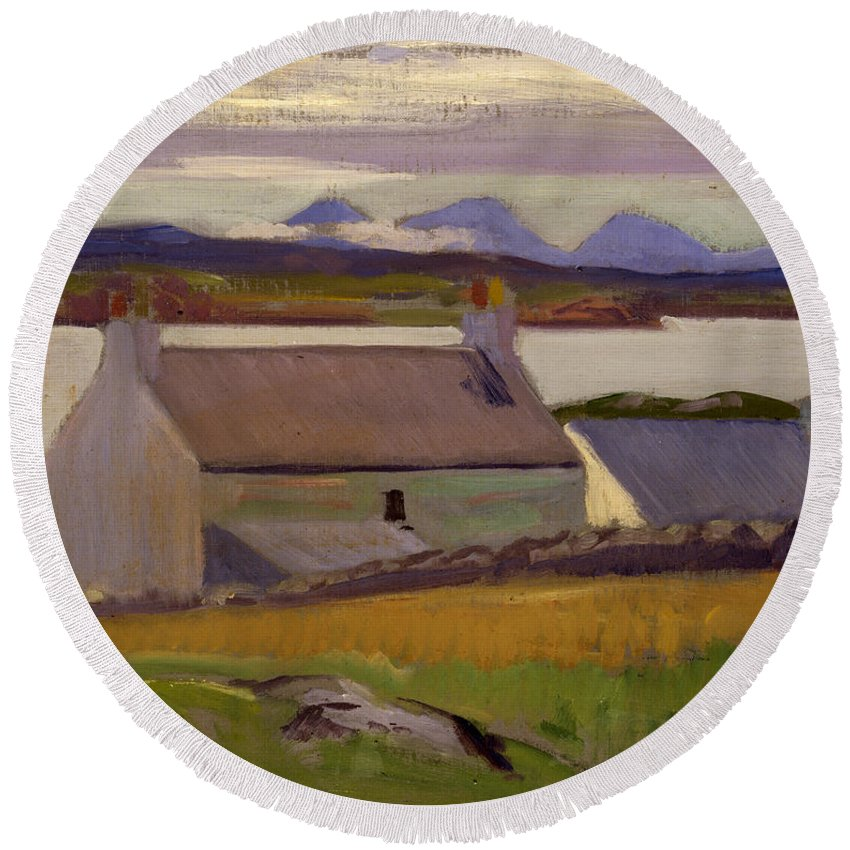 Cadell Round Beach Towel featuring the painting Nightfall Iona by Francis Campbell Boileau Cadell