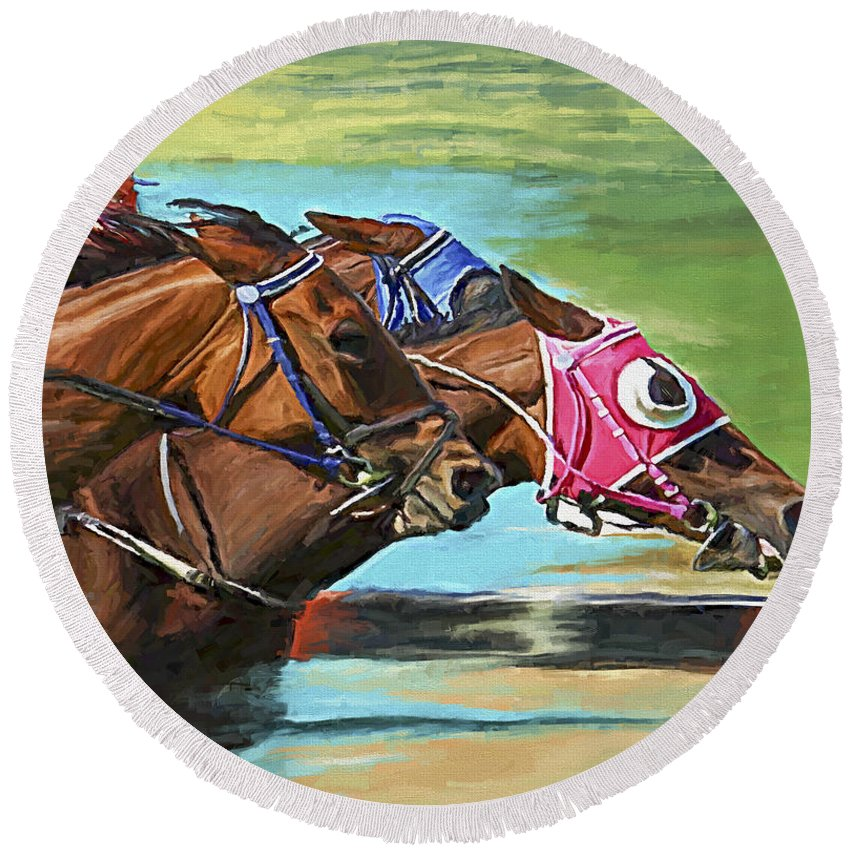 Horses Round Beach Towel featuring the painting Nikita By A Head by David Wagner