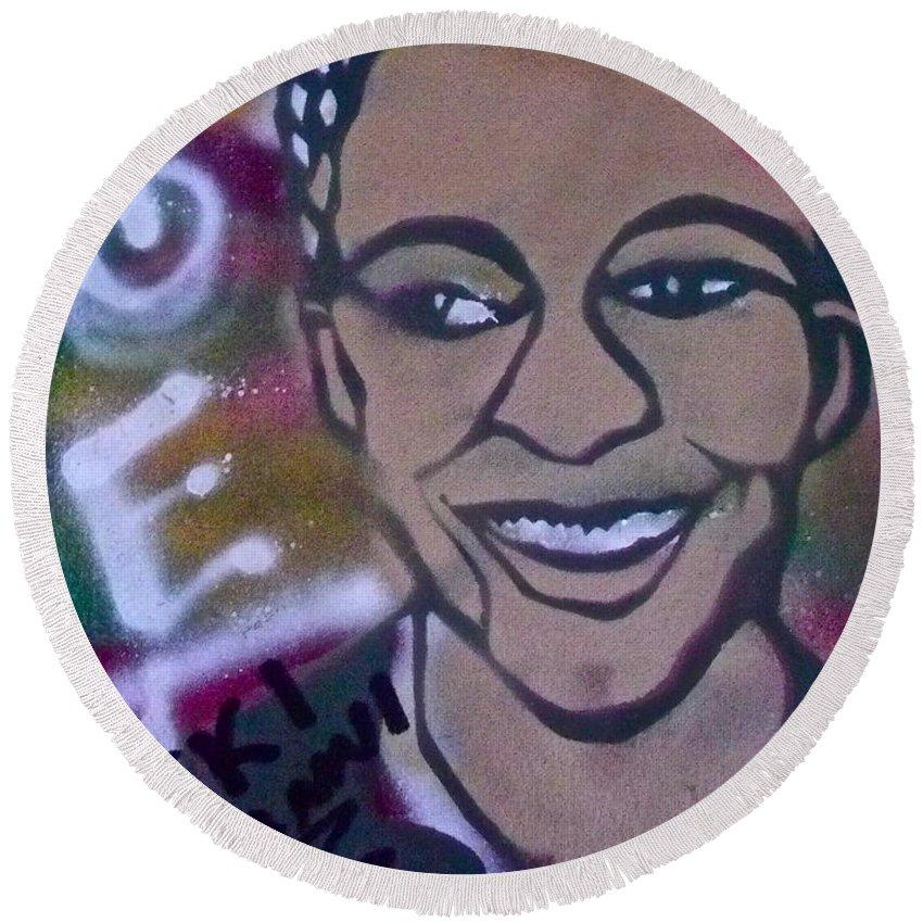 Nikki Giovanni Round Beach Towel featuring the painting Nikki Giovanni by Tony B Conscious