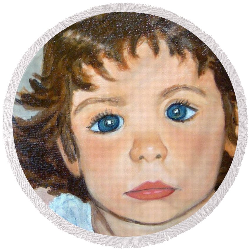 Portrait Round Beach Towel featuring the painting Nikki by Laurie Morgan