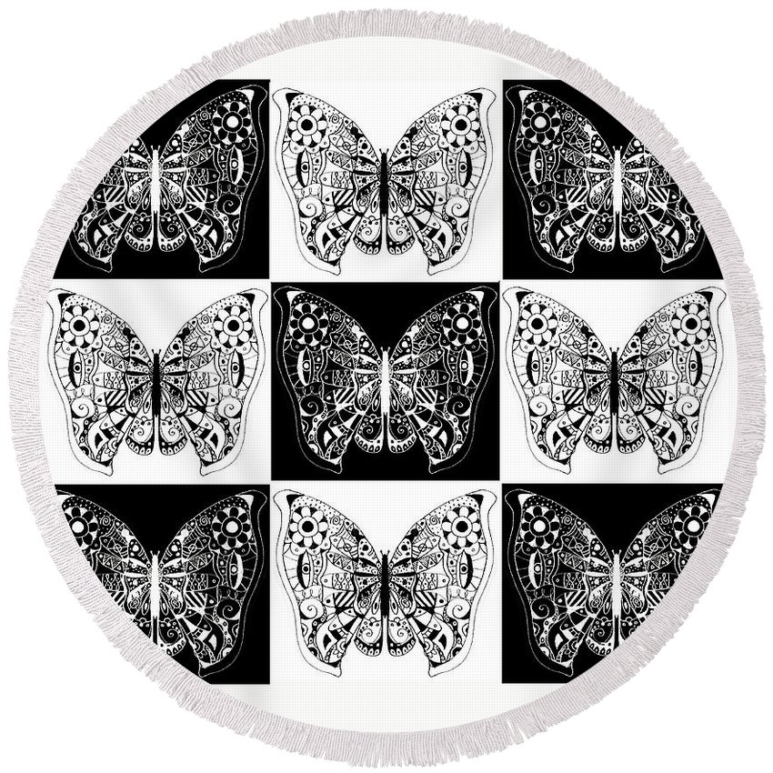 Butterflies Round Beach Towel featuring the digital art Nine Lives - Black And White by Helena Tiainen