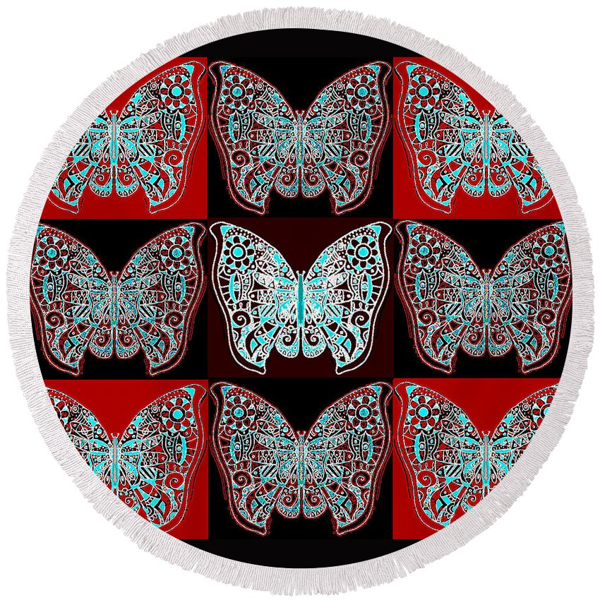 Butterfly Round Beach Towel featuring the digital art Nine Lives - Variation 1 by Helena Tiainen