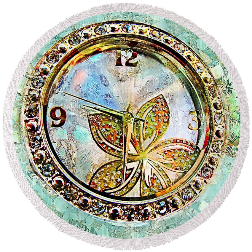 Clock Round Beach Towel featuring the photograph Nine Thirty Two Art by Debbie Portwood