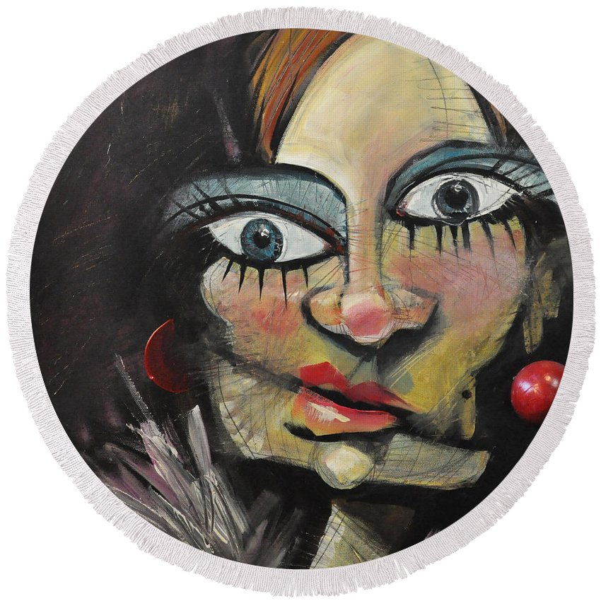 Woman Round Beach Towel featuring the painting Nip And Tuck Version Two by Tim Nyberg