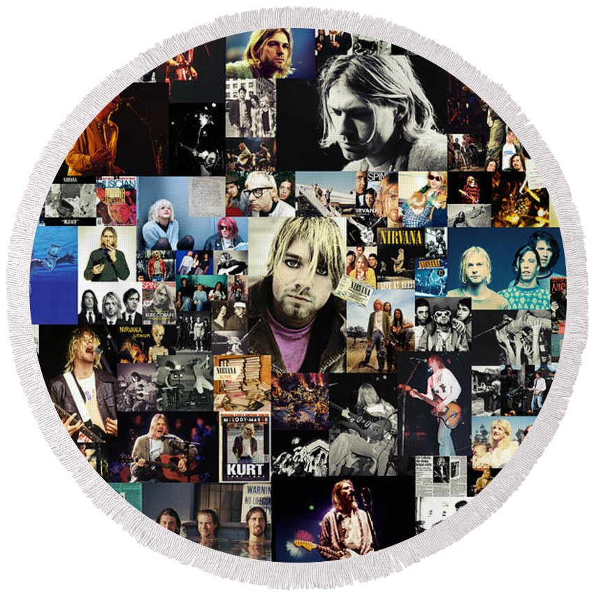 Nirvana Round Beach Towel featuring the digital art Nirvana collage by Zapista OU