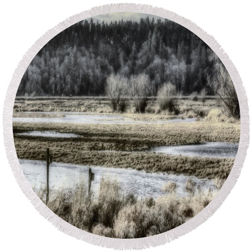 Nisqually Round Beach Towel featuring the photograph Nisqually Nest Boxes by Jean OKeeffe Macro Abundance Art