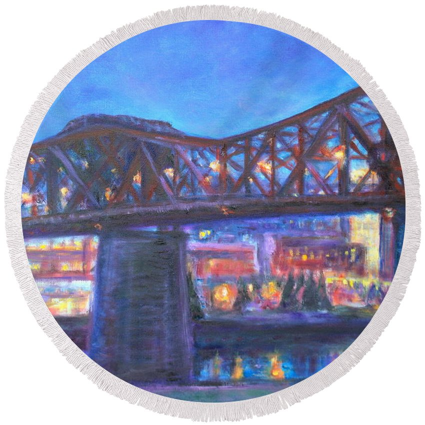 Sky Round Beach Towel featuring the painting City At Night Downtown Evening Scene Original Contemporary Painting For Sale by Quin Sweetman