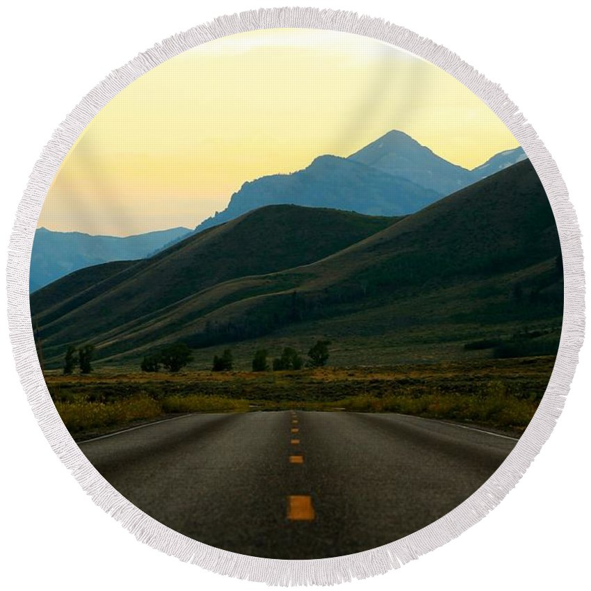 Jackson Hole Round Beach Towel featuring the photograph No Cars Here by Catie Canetti