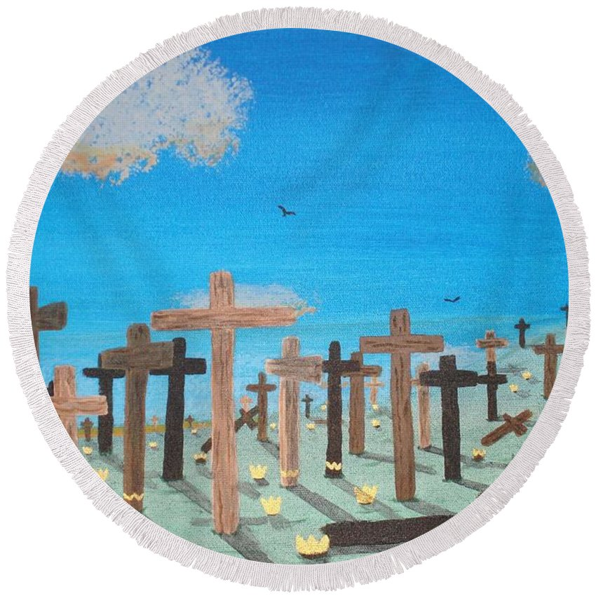 Crosses Round Beach Towel featuring the painting No Cross No Crown 2 by Barbara Evans