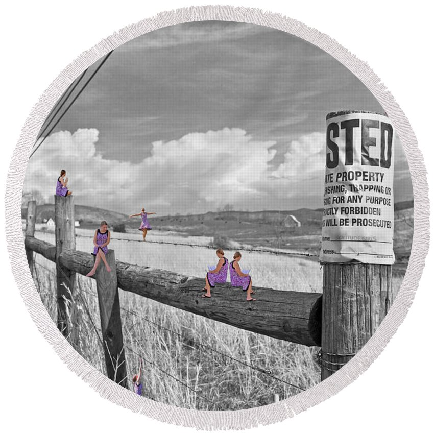 Trespassing Round Beach Towel featuring the digital art No Trespassing by Betsy Knapp