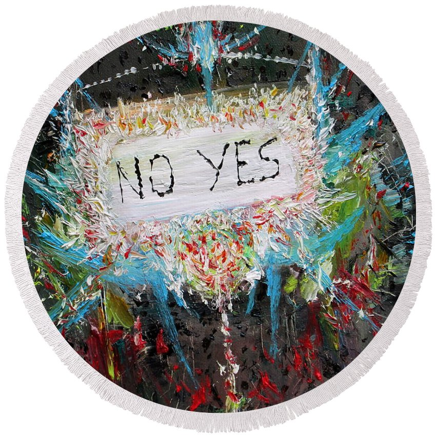 Abstract Round Beach Towel featuring the painting No Yes by Fabrizio Cassetta