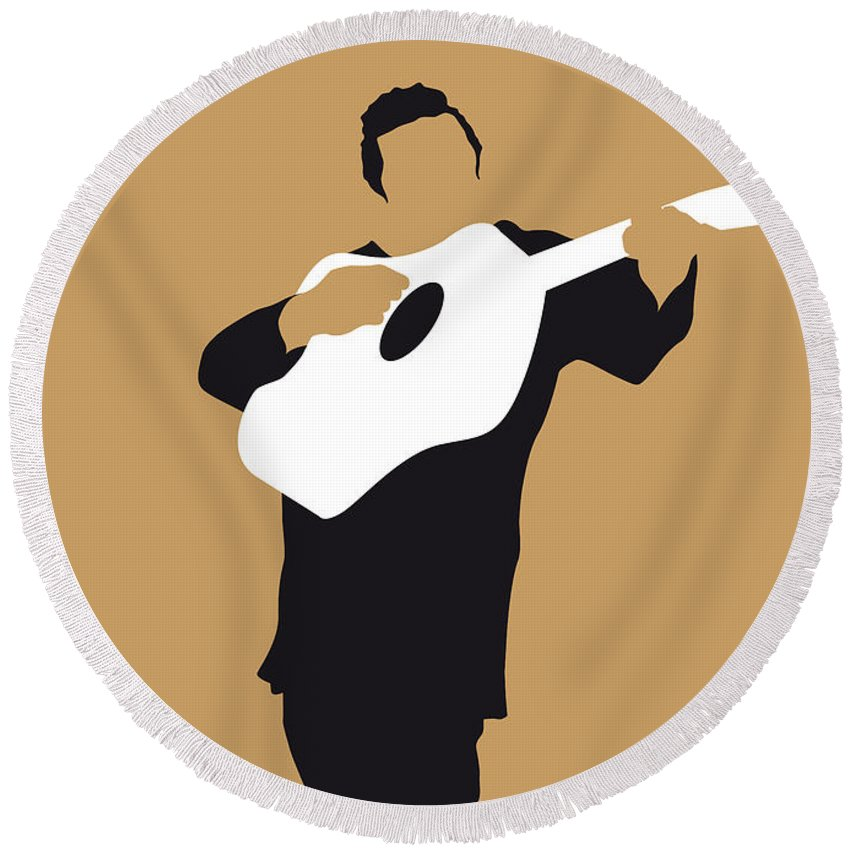 Johnny Round Beach Towel featuring the digital art No010 MY Johnny Cash Minimal Music poster by Chungkong Art