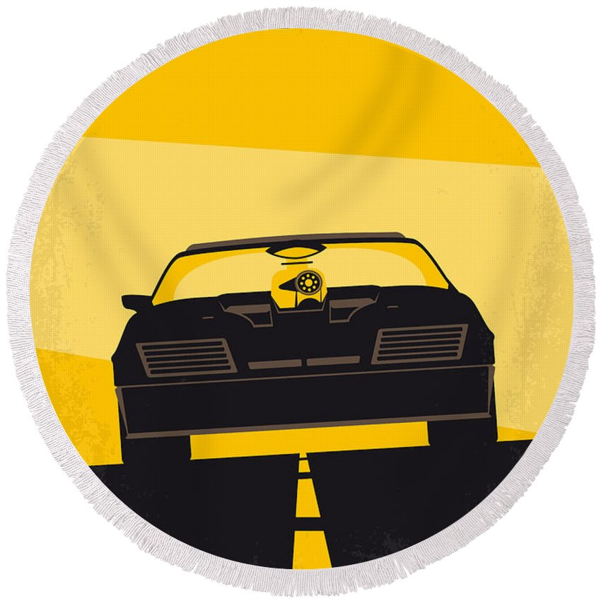 Mad Round Beach Towel featuring the digital art No051 My Mad Max Minimal Movie Poster by Chungkong Art