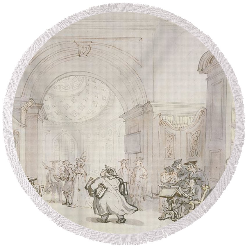 Professors Round Beach Towel featuring the drawing No.0613 The West Room And The Dome Room by Thomas Rowlandson