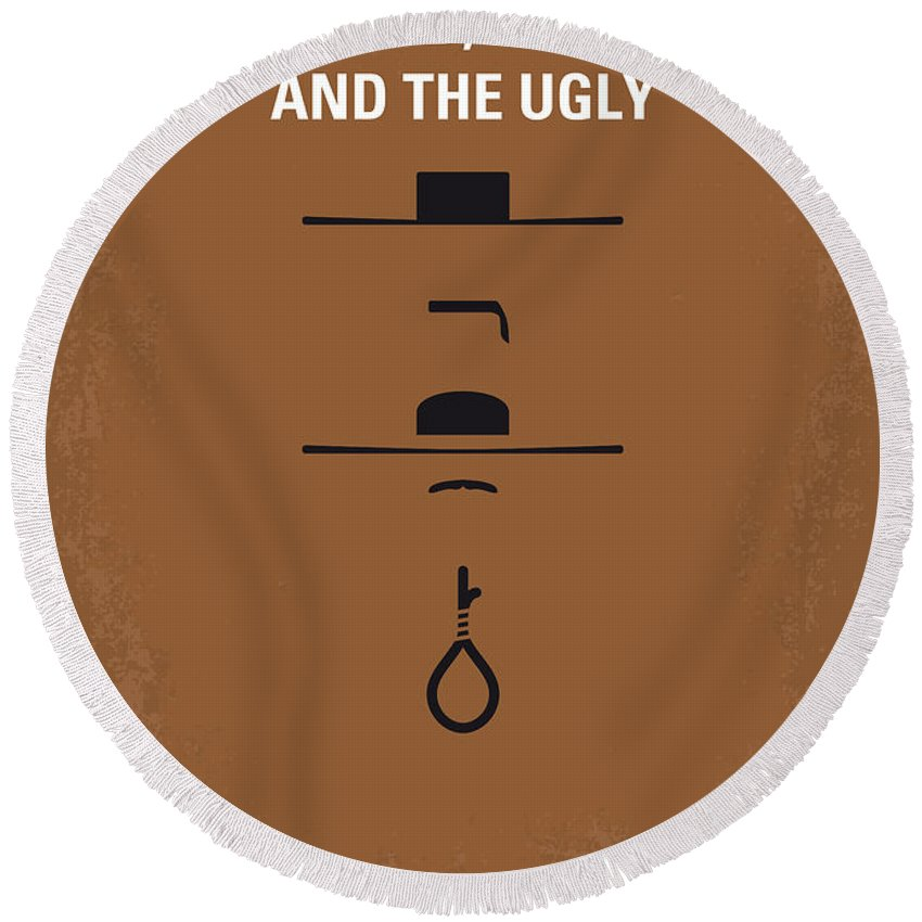 The Round Beach Towel featuring the digital art No090 My The Good The Bad The Ugly minimal movie poster by Chungkong Art