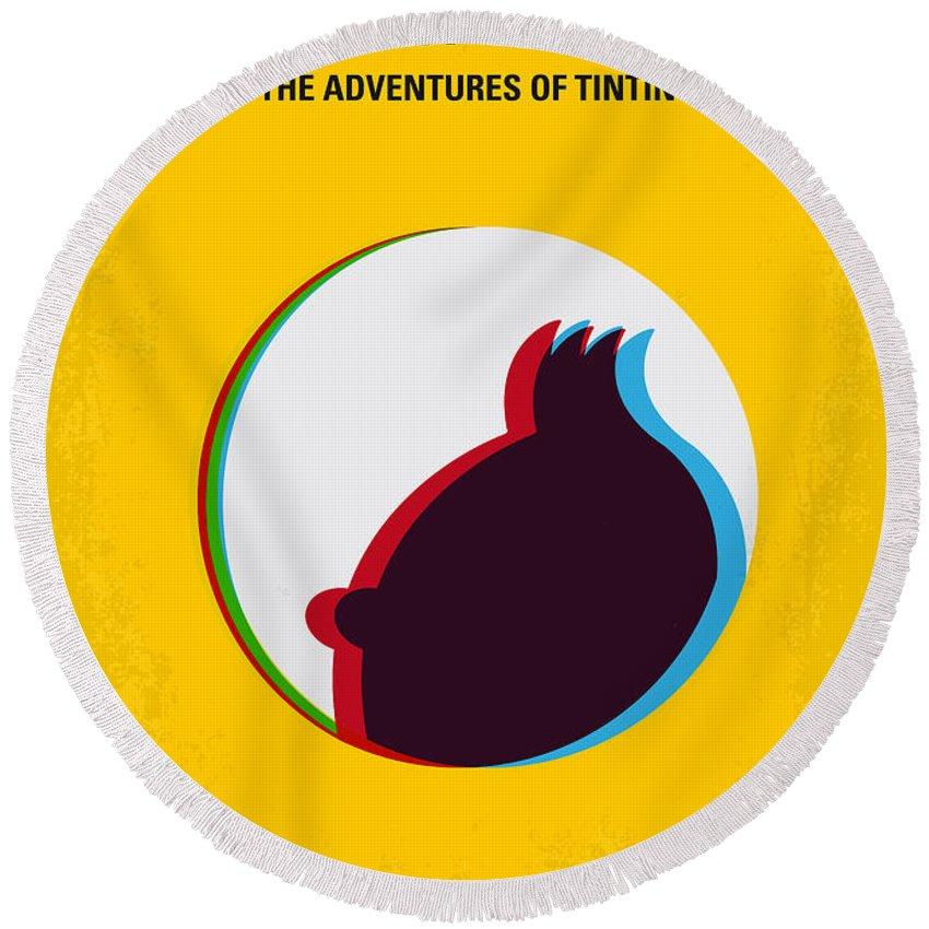 Tintin Round Beach Towel featuring the digital art No096 My Tintin-3d Minimal Movie Poster by Chungkong Art