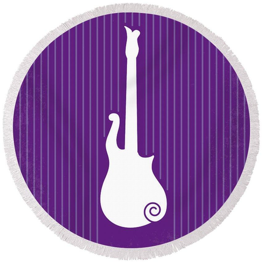 Purple Round Beach Towel featuring the digital art No124 My Purple Rain Minimal Movie Poster by Chungkong Art