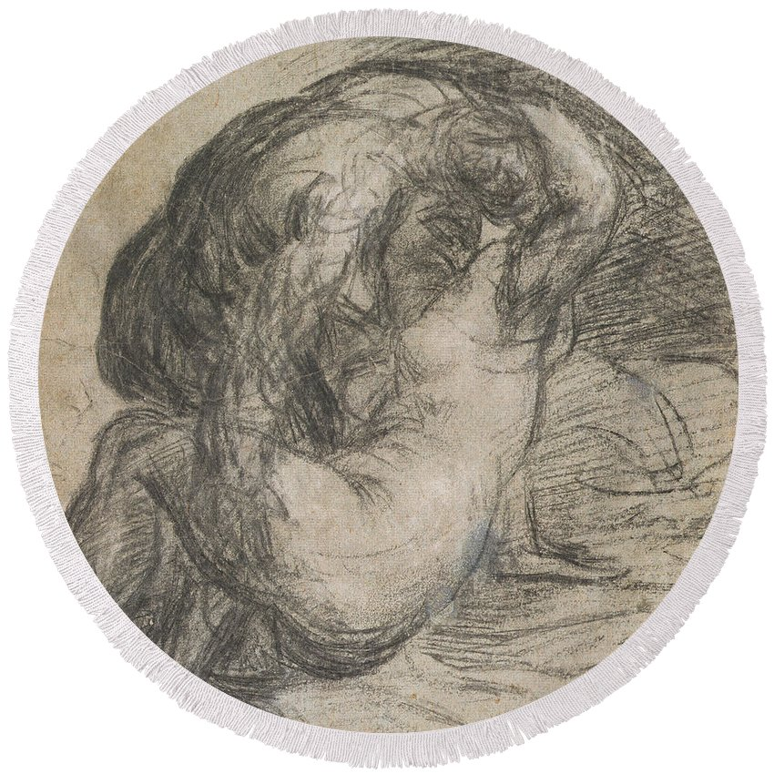 Renaissance Round Beach Towel featuring the drawing Couple In An Embrace by Titian